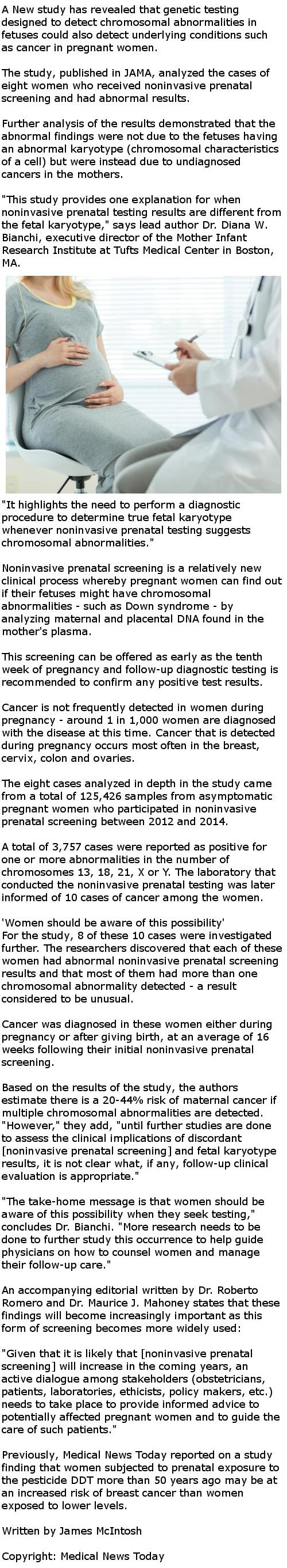 Maternal cancer could be detected during prenatal testing