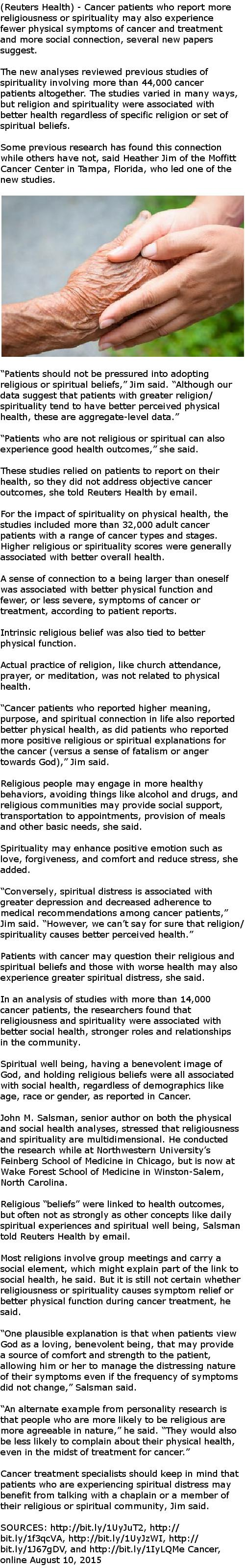 Spirituality may be tied to easier cancer course